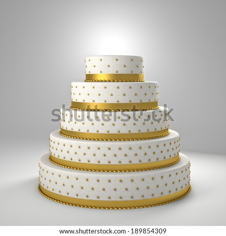 golden wedding cake 3d image - stock photo