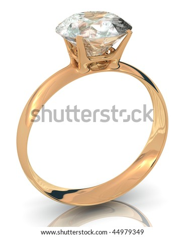 golden wedding ring with big diamond isolated on white background - stock photo