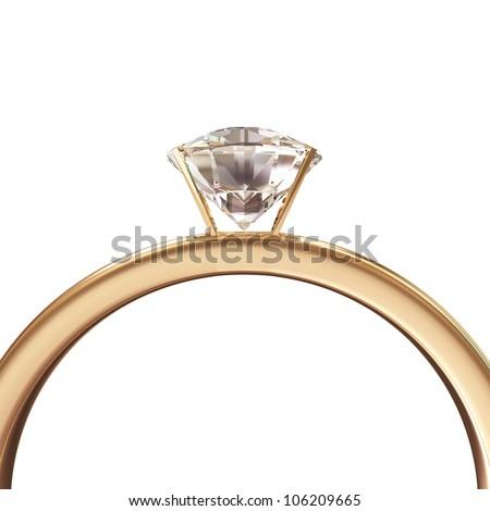 Golden Wedding Ring with Diamond isolated on white background - stock photo