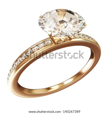 Golden Wedding Ring with Diamonds isolated on white background. (Animation for this image see in my footage gallery) - stock photo