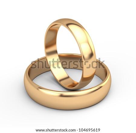 Golden wedding rings - stock photo