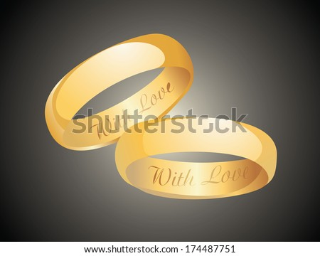 Golden wedding rings. - stock photo