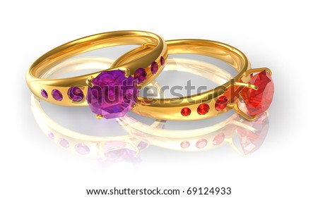 Golden wedding rings with jewels - stock photo