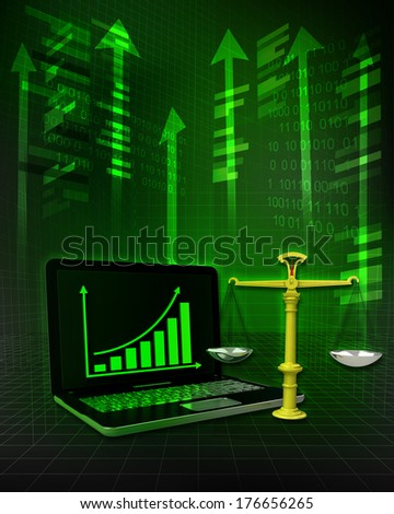 golden weight with positive online results in business illustration - stock photo