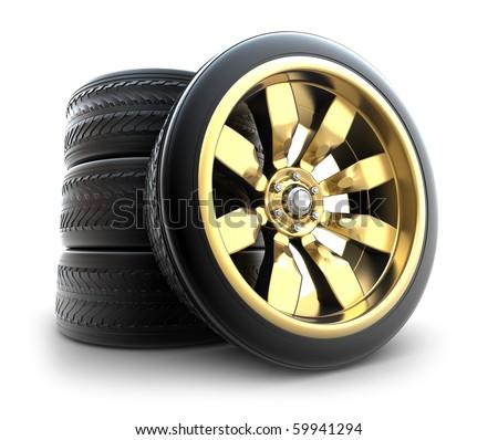 Golden wheels Set isolated on white. My own design - stock photo