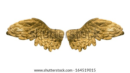 golden wings - stock photo