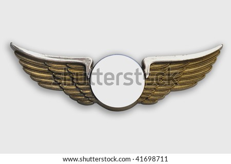 Golden wings pin, on white background, clipping path added. - stock photo