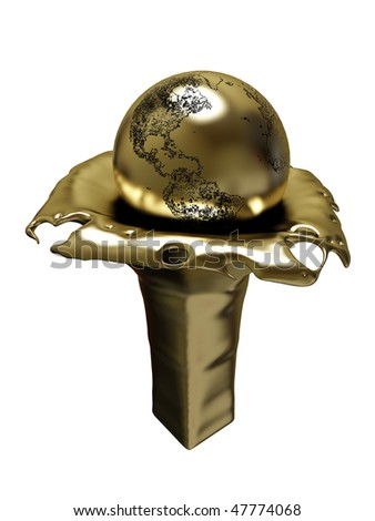 Golden winner cup, champion. Earth - stock photo