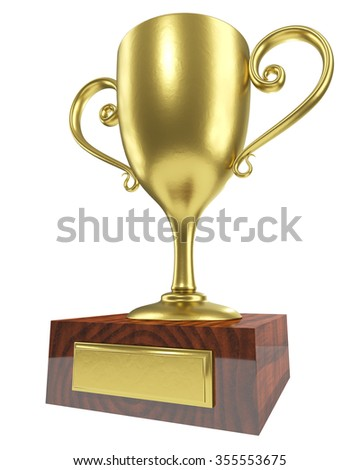 Golden winner trophy cup with wooden base isolated on white background. - stock photo