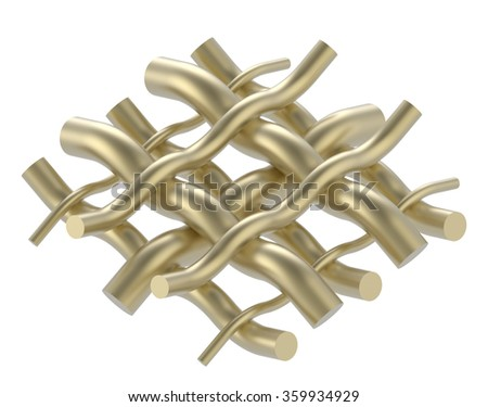 golden wire on white background