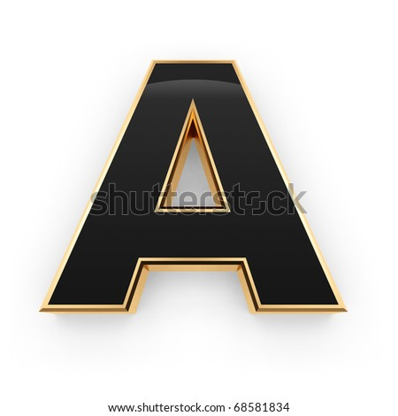 Golden with black letter A isolated on white background - stock photo