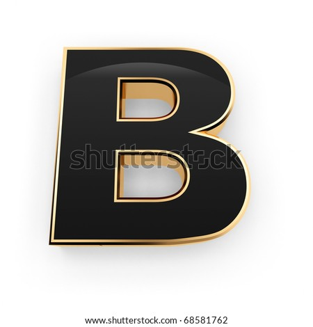 Golden with black letter B isolated on white background - stock photo