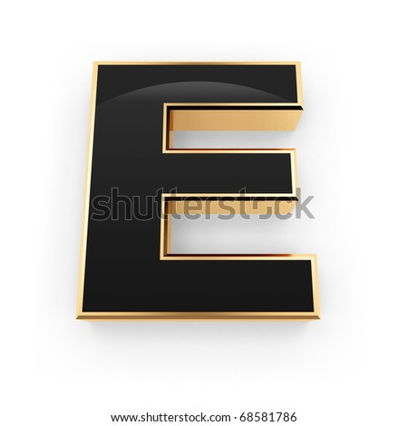 Golden with black letter E isolated on white background - stock photo