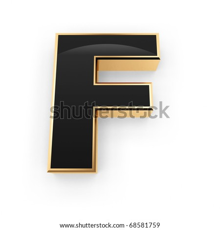 Golden with black letter F isolated on white background - stock photo