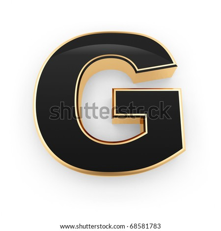 Golden with black letter G isolated on white background - stock photo