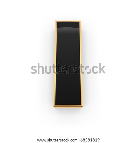 Golden with black letter I isolated on white background - stock photo