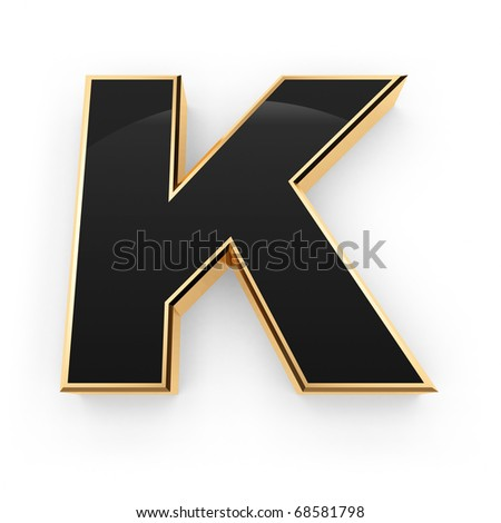 Golden with black letter K isolated on white background - stock photo