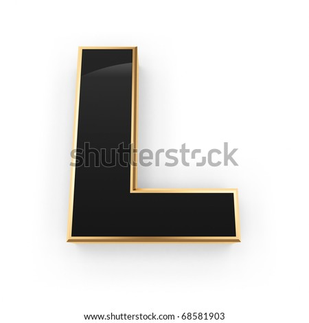 Golden with black letter L isolated on white background - stock photo