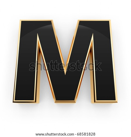 Golden with black letter M isolated on white background - stock photo