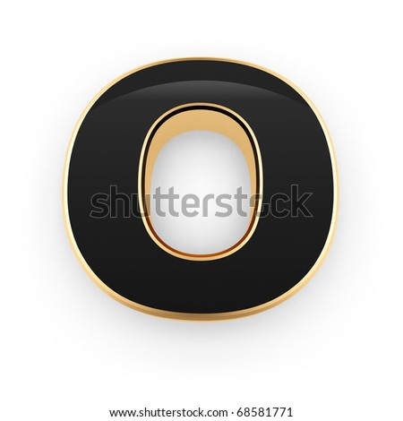 Golden with black letter O isolated on white background - stock photo