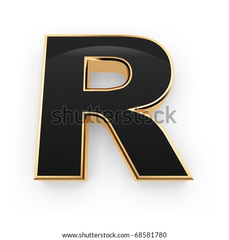Golden with black letter R isolated on white background - stock photo