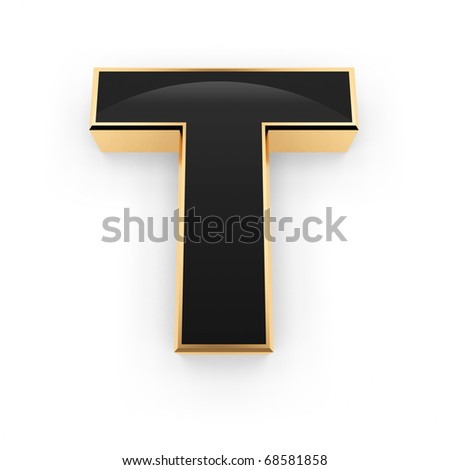 Golden with black letter T isolated on white background - stock photo