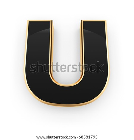 Golden with black letter U isolated on white background - stock photo
