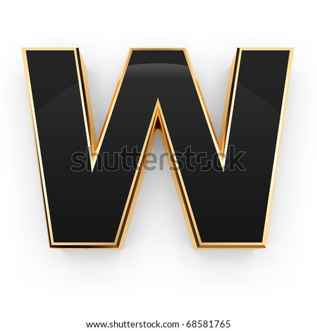 Golden with black letter W isolated on white background - stock photo