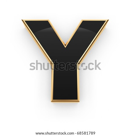 Golden with black letter Y isolated on white background - stock photo