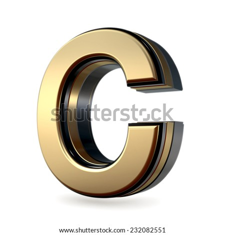 Golden with black rim high quality 3d render  font type letter C isolated on white , uppercase
