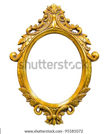golden wood photo image frame isolated on white background - stock photo