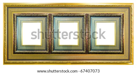 golden wood picture frame isolated on white background - stock photo