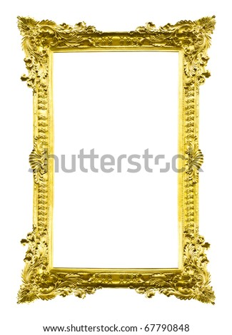 golden wood picture image frame isolated on white background - stock photo