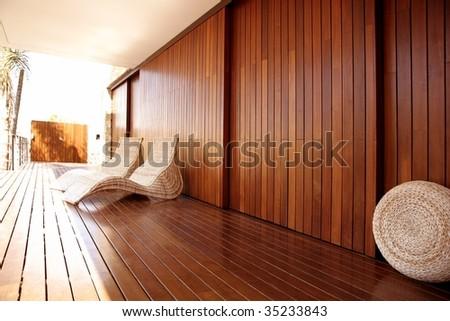 Golden wood spa hammock outdoor house, golden relax - stock photo