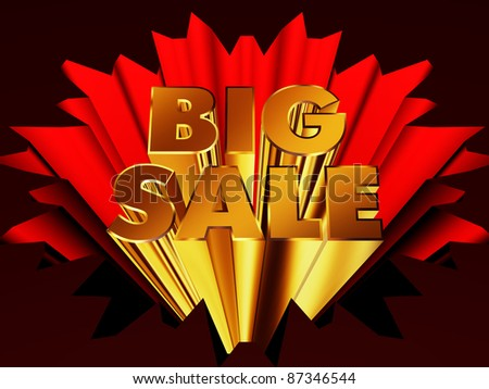 "Golden words ""Big Sale"" on a red background"
