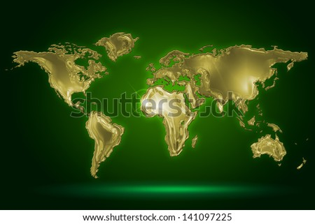 golden world map on dark green background - stock photo