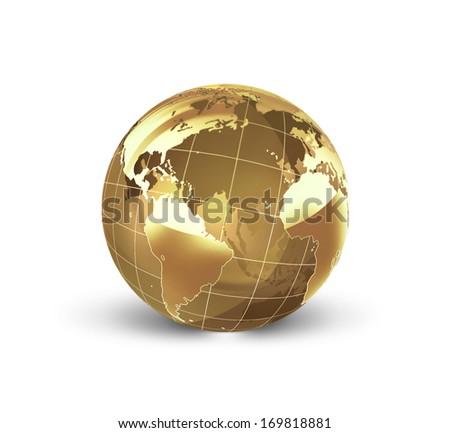 golden world on the white background - stock photo