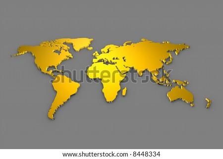Golden Worldmap - stock photo