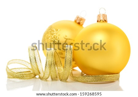 Golden xmas (christmas) ornaments on white background - stock photo