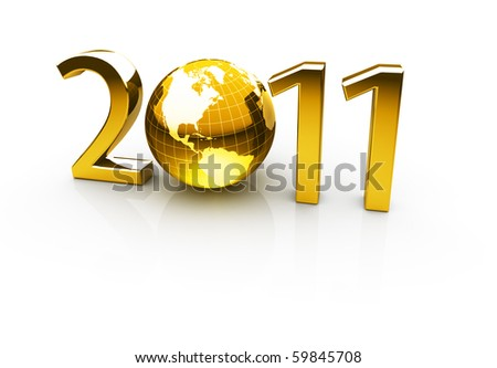 Golden year 2011 made up of numbers and globe as zero - stock photo