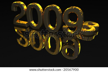 Golden 2009 year number on a black reflective surface