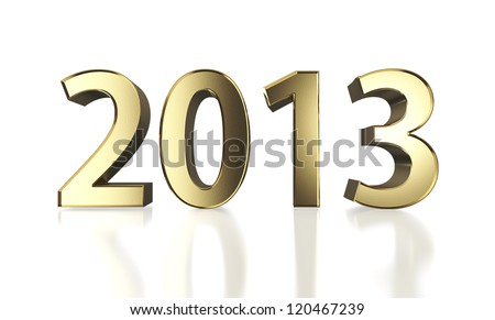 Golden year 2013  with clipping path - stock photo
