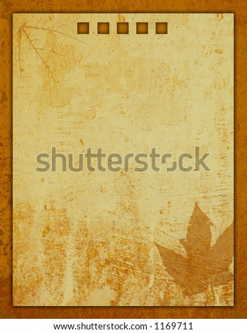 Golden yellow brown Stationery with leaf and decorative paper textured pattern - stock photo