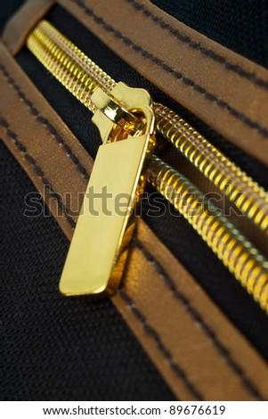 Golden zipper - stock photo
