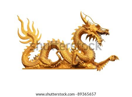 GoldenDragon statue - stock photo