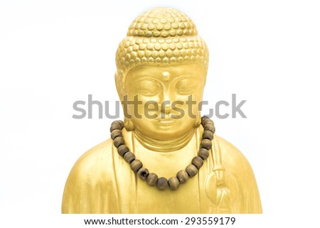Golder buddah with collar isolated on white - stock photo