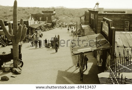 Goldfield, Arizona ghost town rebuilt for tourists - stock photo