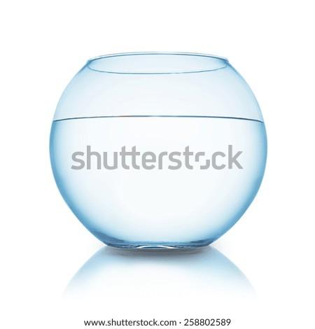 goldfish fishbowl isolated on white background - stock photo