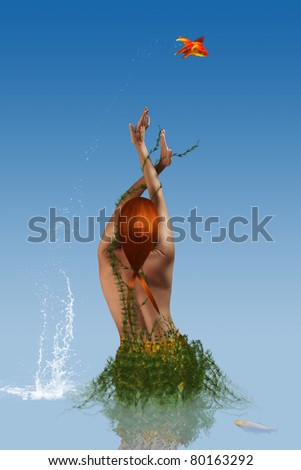 Goldfish jumping out of the water over a mermaid - stock photo