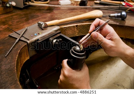 Goldsmith work in process - stock photo